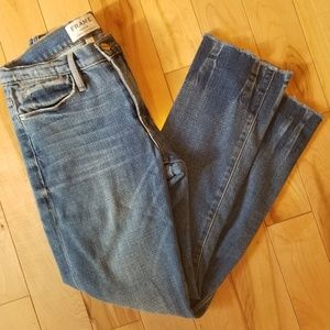 👖FRAME denim Le High Straight Jeans w frayed hem